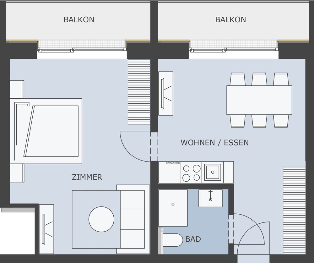 Layout Apartment Waldrausch deluxe on 1st floor